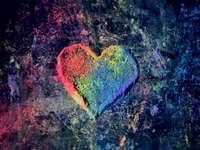 Tiza polvo corazón del arco iris