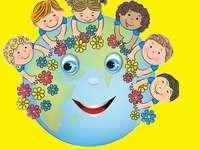 Planeta tierra con niños rompecabezas
