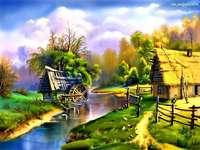 vízimalom a folyó mellett, házikó online rejtvény