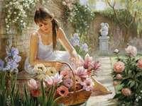 Flicka i trädgården. pussel