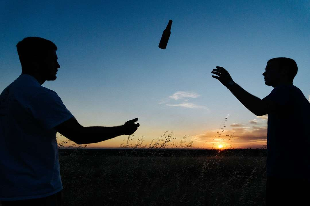 силуетна снимка на двама мъже, които хвърлят бутилка през деня