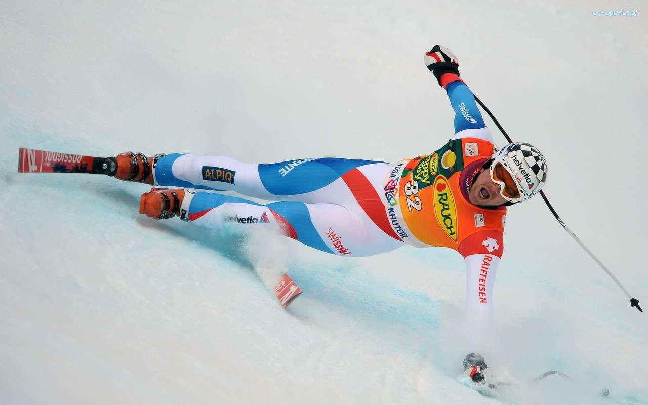 la caída del esquiador