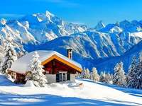 Cottage In The Mountains, Snow jigsaw puzzle