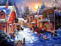 Måla jul i liten stad