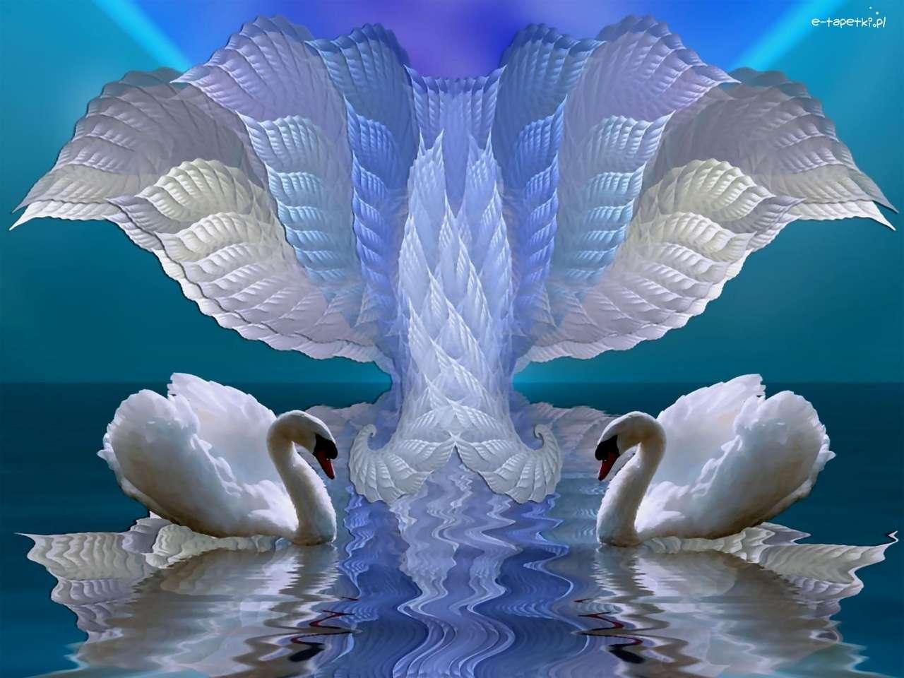 Foto - Zwanen op het meer puzzel