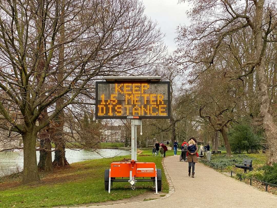 Ludzie chodzą po parku w ciągu dnia