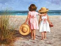 Kislányok a tengerparton