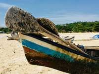 brown and blue boat on beach during daytime