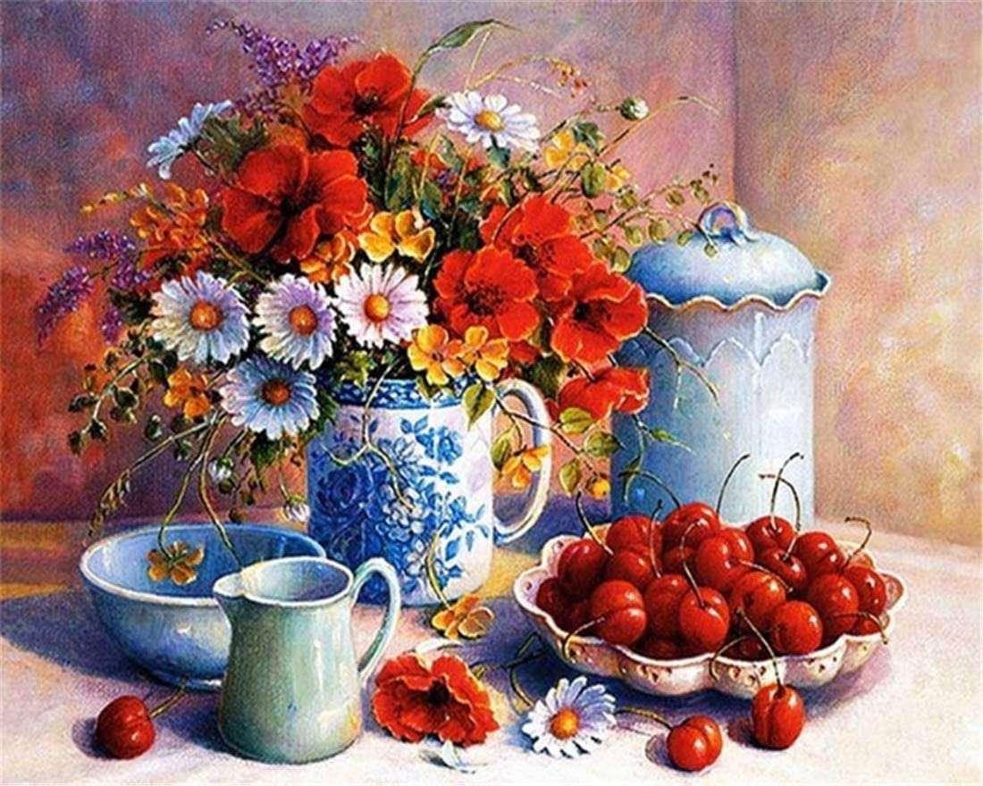 flowers and cherries