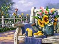 Blumen im Garten mit einer Bank